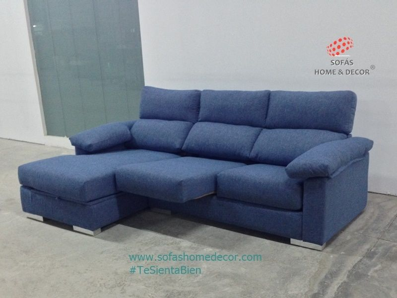 Sofa chaise longue con asientos extraibles y cabezales abatibles relax